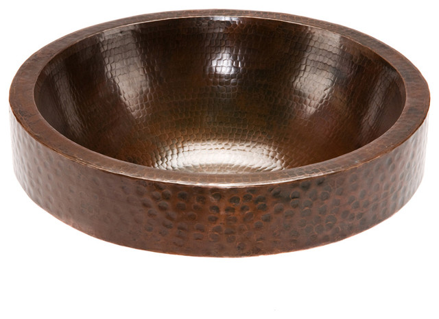 Round Skirted Vessel Hammered Copper Sink rustic-bathroom-sinks