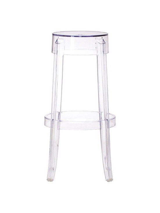 "Zuo - Zuo Anime Transparent 29 1/2"" High Acrylic Bar Stool - Made of a durable and flexible transparent acrylic this contemporary Zuo bar stool can be utilized in a variety of decor schemes. The clear chic design is a must for the modern home. The design was constructed to be easily stackable one upon another for convenient space-saving storage. Warrantied against cracking for two years of commercial use. Another truly inspired Zuo Modern barstool. Transparent acrylic construction. Armless backless design. Stackable barstool. 29 1/2"" high. 18"" wide. Seat is 11 1/2"" wide.  Transparent acrylic construction.  Armless backless design.  Stackable barstool.   29 1/2"" high.   18"" wide.   Seat is 11 1/2"" wide.   Some assembly required."