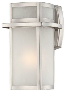 """Brushed Nickel Frosted Glass 11 1/4"""" High Outdoor Wall Light contemporary-outdoor-wall-lights-and-sconces"""