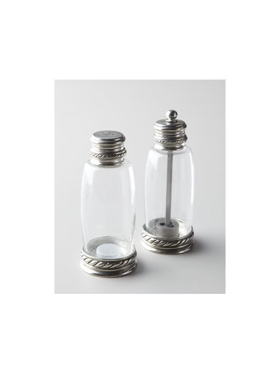 "Vagabond House - Vagabond House Pewter-Accented Salt & Pepper Set - A salt and pepper set for all seasons, this shaker and grinder feature gadroon detailing for just a touch of sophistication. Made of glass and pewter. Hand wash Set of 2; each, 2""W x 6""T. Imported."