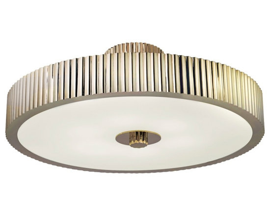 "Sonneman - Sonneman Paramount 22 3/4"" Wide Nickel Ceiling Light - A modern classic round ceiling light surrounded by ribbed metal in polished nickel finish this design will inspire your home decor. With hints of Art Deco and Art Moderne influences it is sure to become a welcome part of your living space for years to come. A white diffuser ensures even soft lighting. This sophisticated ceiling fixture is from Sonneman. Metal construction. Polished nickel finish. White diffuser. Takes six 60 watt candelabra bulbs (not included). 22 3/4"" wide. 9 1/4"" high. Canopy is 6"" wide.  Metal construction.    Polished nickel finish.   White diffuser.   Takes six 60 watt candelabra bulbs (not included).   22 3/4"" wide.   9 1/4"" high.   Canopy is 6"" wide."