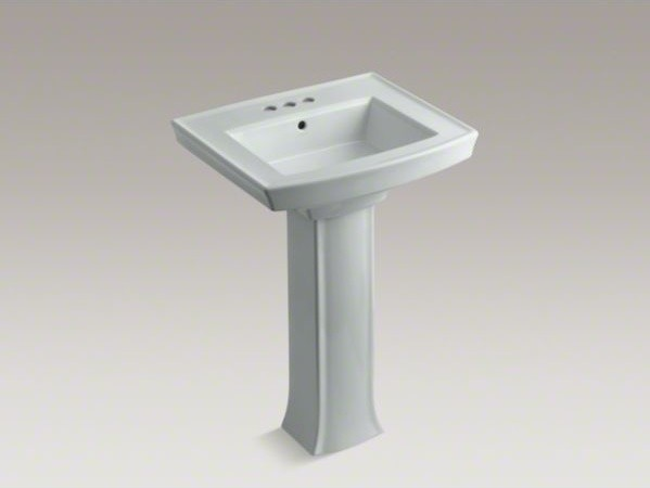 "KOHLER Archer(R) pedestal bathroom sink with 4"" centerset faucet holes contemporary-bathroom-sinks"