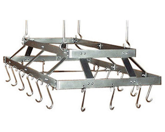 """HSM - 58 Inch Commercial Hanging Stainless Steel Pot Rack, Stainless Steel, With Grid - Dimensions: 58""""W x 23""""D x 6-1/2""""H"""