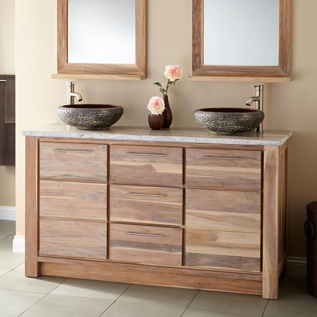 60 venica teak double vessel sinks vanity whitewash