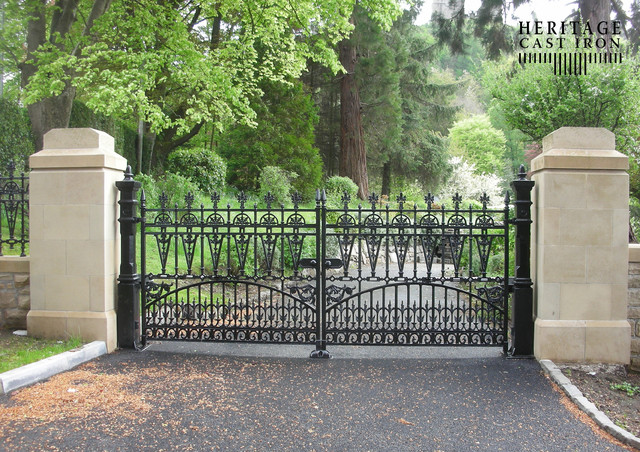 Heritage Cast Iron USA Gilberton Driveway Gates traditional-home-fencing-and-gates