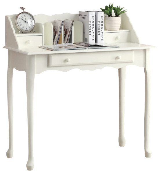 Monarch specialties 3103 secretary desk in antique white traditional desks and hutches by - Antique white office desk ...
