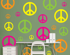 Hot Pink, Yellow, Neon Green And Orange Peace Signs eclectic-wall-decals