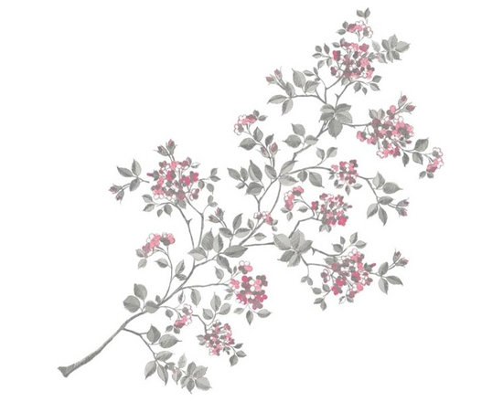 """Brewster Home Fashions - Cherry Blossom Kit Decal - Cherry blossoms have a short-lived splendor each year. This beautiful flowering branch decal adds an enchanting look to any room inviting the delight of spring indoors.  Enjoy the captivating beauty of a cherry tree in bloom year-round with this large wall art kit featuring an artful hand sketched style. This beautiful peel and stick wall art comes in 17 pieces on two 17.25"""" x 39"""" sheets."""