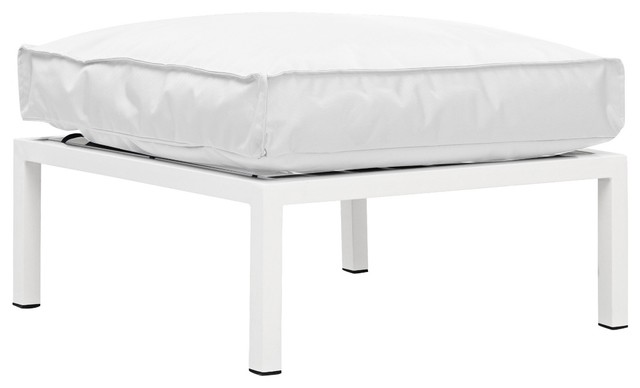Zuo Copacabana White Outdoor Ottoman contemporary-outdoor-stools-and-benches