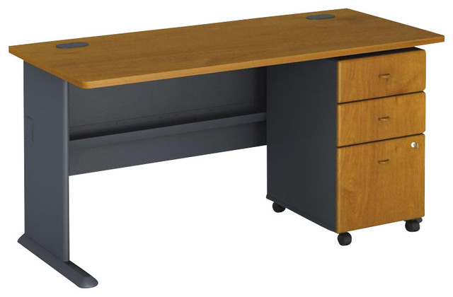 "Bush Series A 60"" Computer Desk with 3-Drawer File Cabinet in Natural Cherry - Transitional ..."