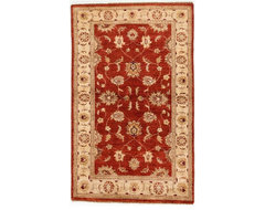 Red and Ivory Chobi Ziegler Oriental Woolen Rug with Borders 3x4.92 traditional-rugs