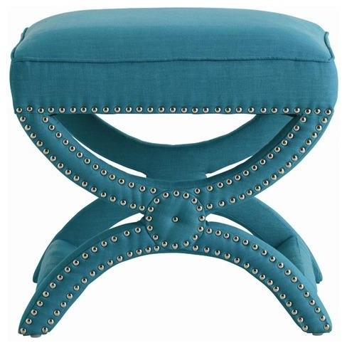 Arteriors Tennyson Turquoise Linen Stool with Nickel Studs traditional ottomans and cubes