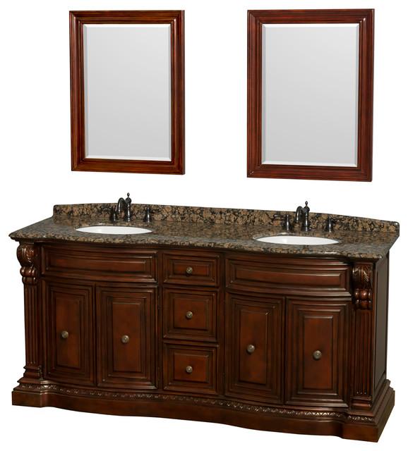 Roxbury 72 DBL Bathroom Vanity In Cherry Brown Granite Top UM Sinks