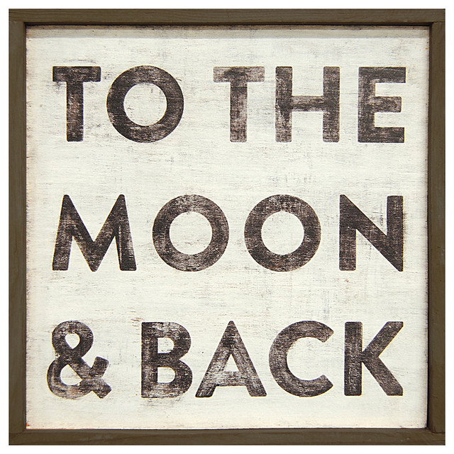 To The Moon and Back' Reclaimed Wood Vintage Wall Art - Small transitional-prints-and-posters