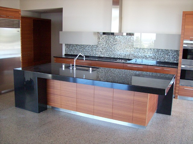 Artisan Stone Collection modern kitchen in Absolute Black Granite modern kitchen countertops