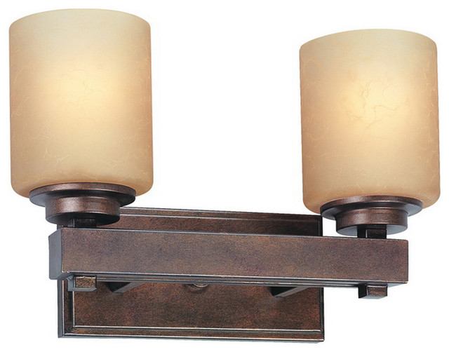 Dolan Designs 3112 90 Sherwood 2 Light Bathroom Vanity Lights In Sienna Rustic Bathroom