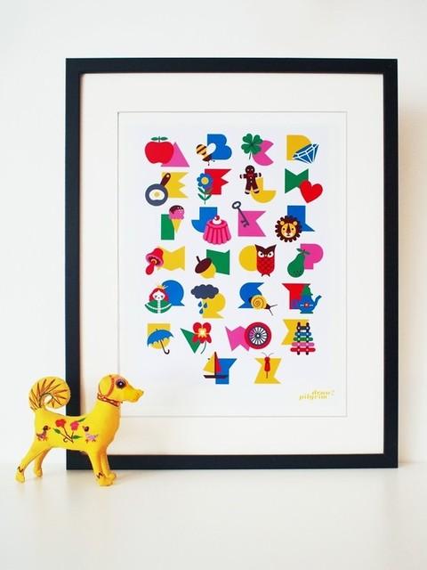 Alphabet Poster Print in 'Gumball' by Draw! Pilgrim modern-kids-decor