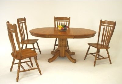 Classic Solid Wood 5 Piece 48 Inch Pedestal Dining Table Set with Schoolhouse Ch modern-dining-tables