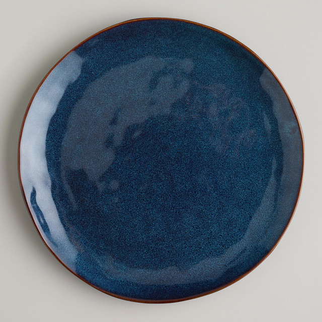 Indigo Organic Glaze Dinner Plates Set Of 2 Traditional