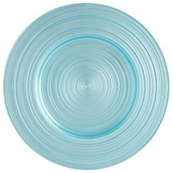 Round Turquoise Glass Charger modern-charger-plates