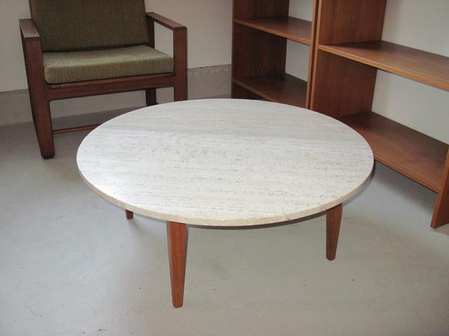 Mid Century Italian Travertine Marble And Teak Coffee Table Modern Coffee Tables Vancouver