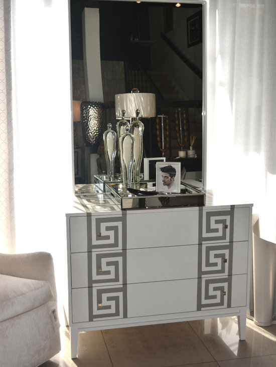 Showroom Pieces - Chest with a gray greek key motif now available
