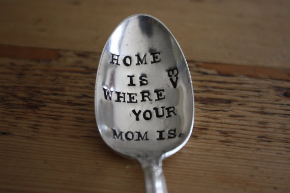 Home Is Where Your Mom Is Hand-Stamped Mothers Spoon By For Such A Time Designs traditional accessories and decor