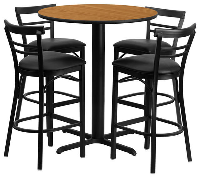 """24"""" Round Natural Laminate Table Set with Metal Bar Stools - Black Seat contemporary-bar-tables"""