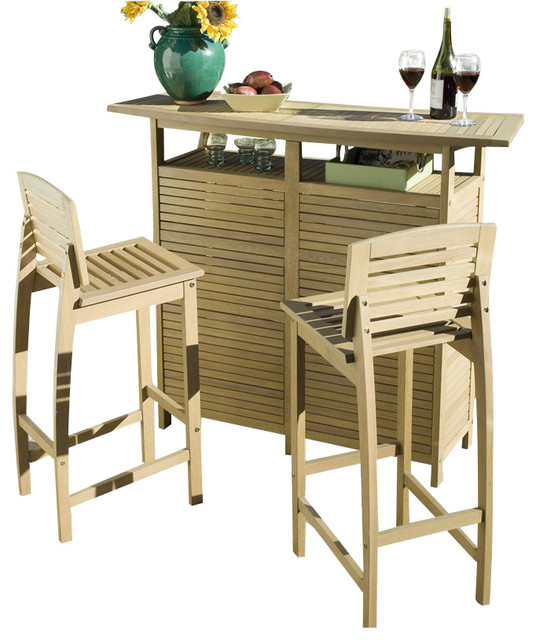 Home Styles Bali Hai Bar Cabinet Set with Two Bar Stools in Natural transitional-wine-and-bar-cabinets