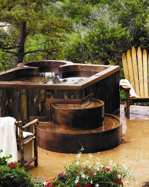 Copper Hot Tub with Barn Wood Siding traditional-hot-tubs