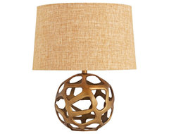 Contemporary Ennis Antique Brass Web Sphere Table Lamp contemporary table lamps