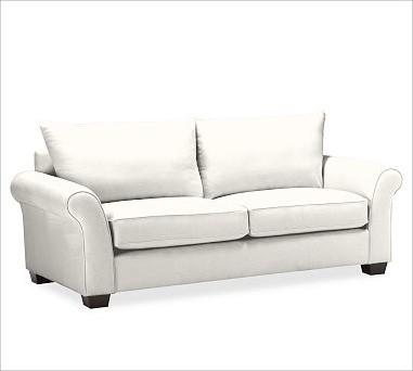 PB Comfort Roll UpholsteredSofa Knife-EdgeTwillWhiteUpholsteredPoly traditional-sofas