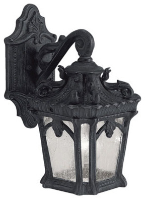 Tournai One-Light Textured Black Square Outdoor Wall Lantern traditional-outdoor-lighting