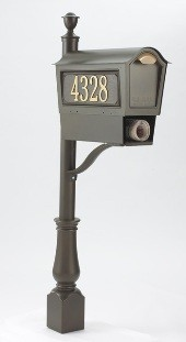 Deluxe Chalet Mailbox Package - Bronze modern-mailboxes