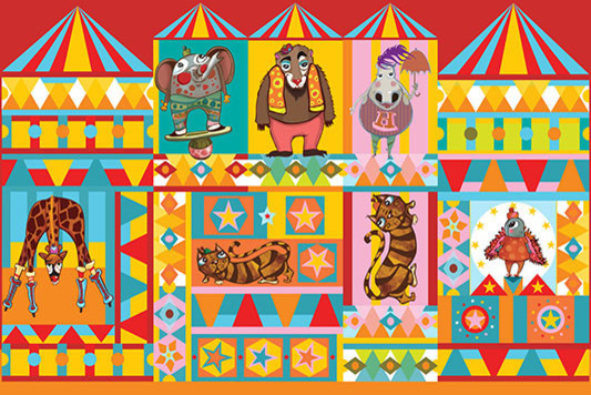 Peel-and-stick circus characters wall decal eclectic-nursery-decor