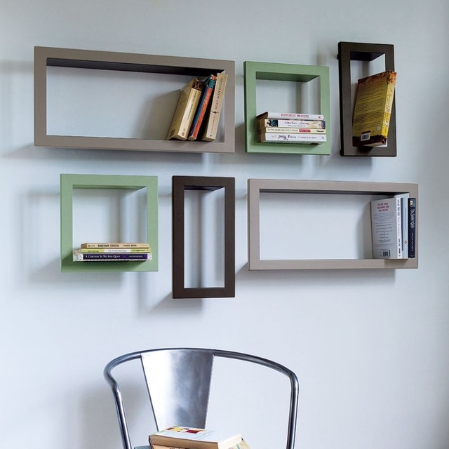 Metal CD, DVD or Bookshelves contemporary wall shelves