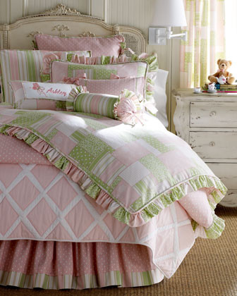 Legacy Home Cozy Patch Bed Linens Striped Neckroll Pillow w/ Ruffle traditional-bed-pillows