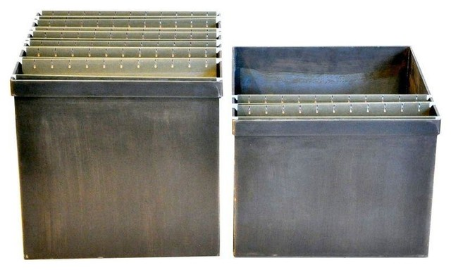 Pre-owned Steel Hanging File Box - A Pair - Industrial - Filing Cabinets - by Chairish