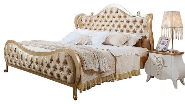 Modrest Ravenna - Transitional Beige Fabric Bed, King modern-beds