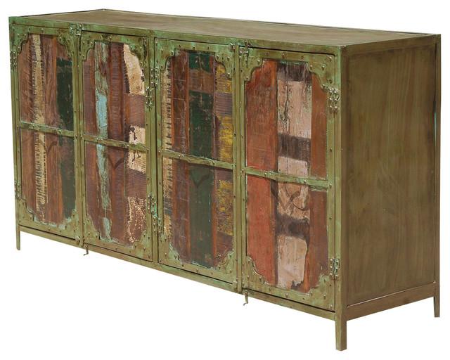 Industrial Reclaimed Wood Buffet Cabinet Industrial