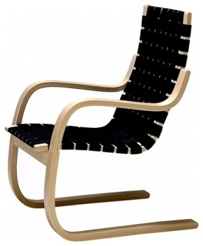 Alvar Aalto 406 Armchair, Black Linen modern armchairs