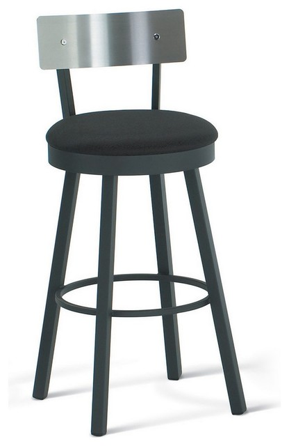 amisco lauren swivel stool with stainless steel backrest 40493 transitional bar stools and. Black Bedroom Furniture Sets. Home Design Ideas