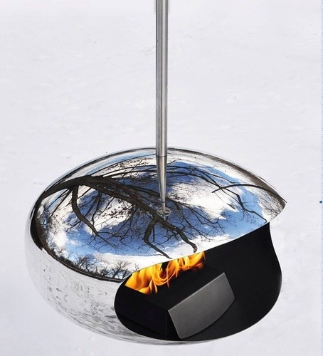 Hanging Fireplace Set in Stainless Steel modern-fireplaces