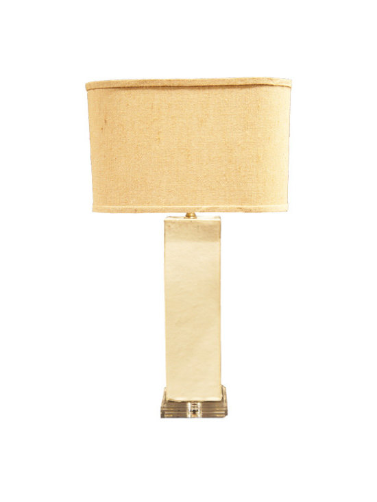Off-White Pillow on Lucite Base Lamp - This soothingly chic lamp features a fabulously textured linen shade and unexpected off-white Lucite base. We love how the modern and clean look of this lamp would work in nearly any room with any décor. It's a neutral piece that's anything but boring.