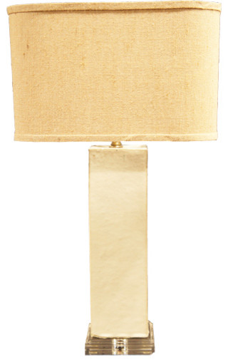 Off-White Pillow on Lucite Base Lamp modern-table-lamps
