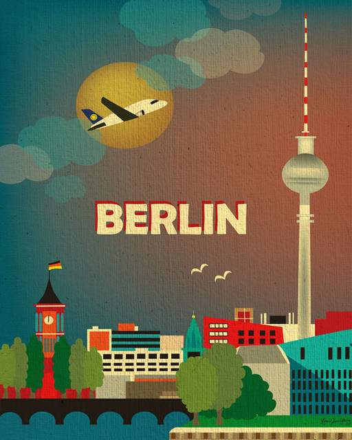 Berlin, Germany Skyline eclectic-artwork