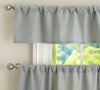 Emery Linen Cafe Curtain 50 X 24 Blue Dawn Traditional Curtains By Pottery Barn