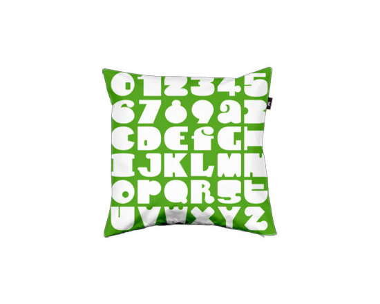 Pillow Numbers & Letters, Green -