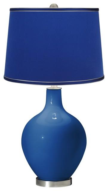 Hyper Blue Satin Dark Blue Shade Ovo Table Lamp