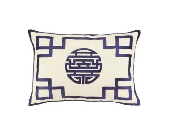 Double Happiness Pillow, Navy -